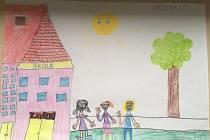 Žáci 1.A Bolevecké základní školy v Plzni kreslili a tvořili.