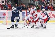 Semifinále play off hokejové extraligy - 5. zápas: HC Oceláři Třinec - HC Škoda Plzeň, 11. dubna 2019 v Třinci. Na snímku (zleva) Petr Straka, Martin Růžička, Petr Vrána, Jan Eberle.