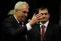 Miloš Zeman během setkání v Dobřanech.