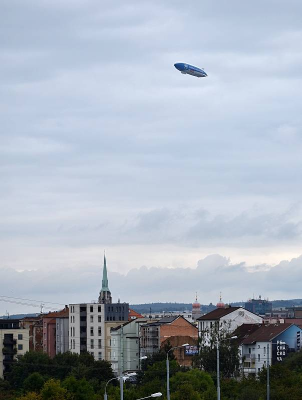 Průlet vzducholodi Zeppelin nad Plzní, 17. 9. 2021