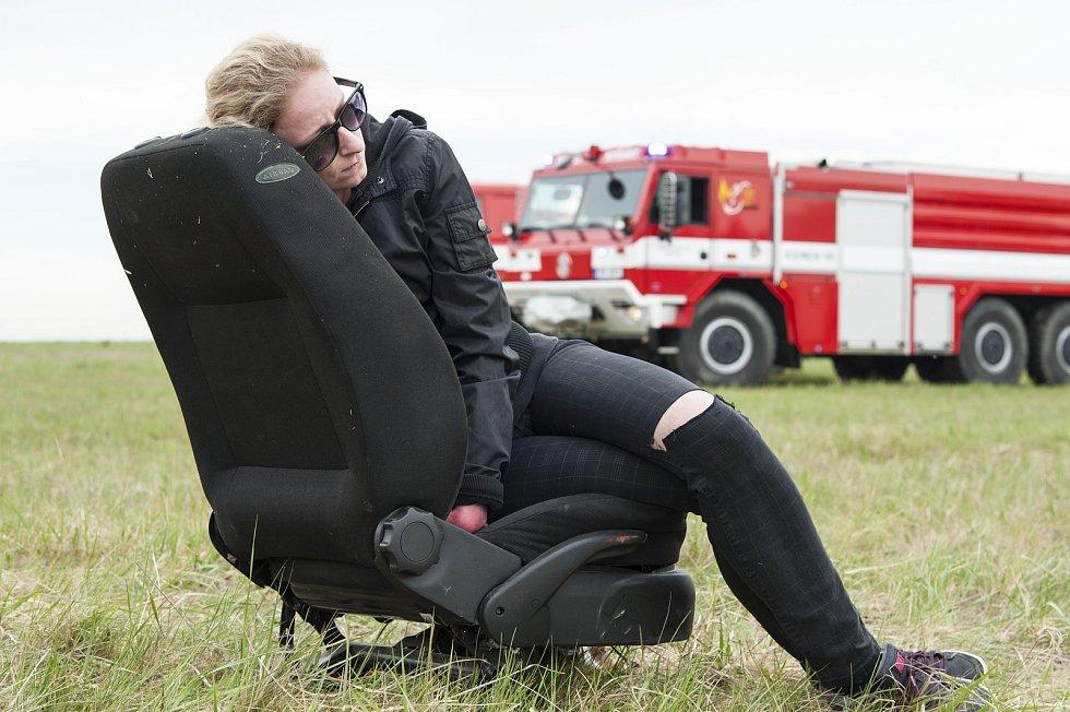 Cvičení letecké nehody na letišti v Líních.