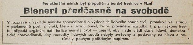 Pravda, 12.6.1947. Opropuštění Richarda Bienerta informoval deník na titulní straně.