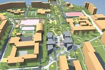 Místo Ice Parku počítá jedna ze studií architektů s několikapatrovými bytovkami (šedé)