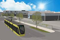 Vizualizace nové tramvajové vozovny v Plzni na Slovanech. Rekonstrukce je naplánovaná na roky 2020-2022. Hlučnost z provozu areálu by se mohla díky ní snížit až o 20 procent.