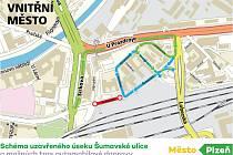 Schéma uzavřeného úseku Šumavské ulice