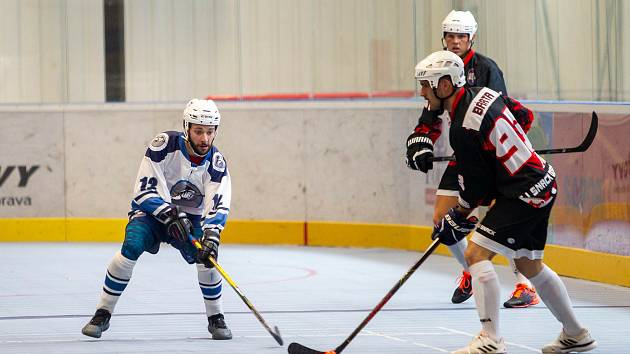 Hokejbalisté Dobřan (na  archivním snímku) v tmavých dresech.