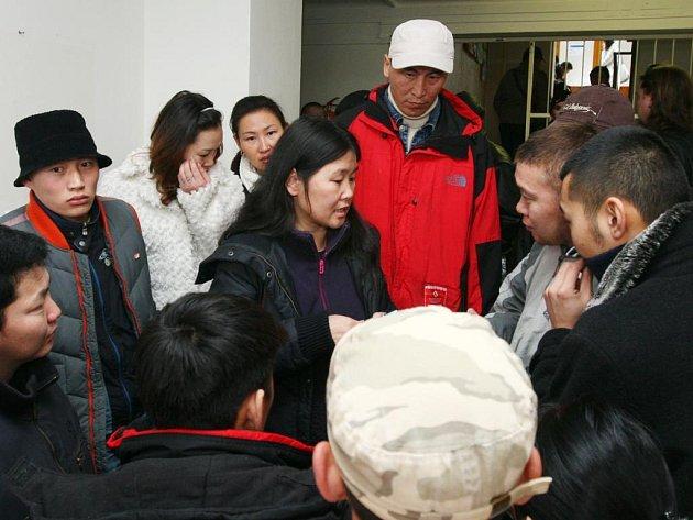Předsedkyně Česko – mongolské společnosti Atiunjargal Dashnyam přišla na cizineckou policii přivedla skupinu Mongolců, kteří se chtějí vrátit do své vlasti