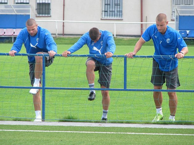 Fotbalisté Viktorie Plzeň se rozcvičují před úterním tréninkem na hřišti v Luční ulici