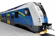 Barevná varianta vlaku RegioPanter, kterou v anketě vybrali obyvatelé kraje.