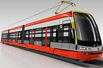 Vizualizace nové tramvaje