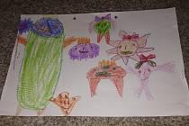 Kateřina z Přeštic nakreslila obrázek koronaviru.