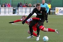 Fotbalisté Viktorie se s druholigovým Ústím rozešli nerozhodně 2:2. Na snímku v černém Tomáš Poznar, útočník Plzně, který se v utkání prosadil gólem