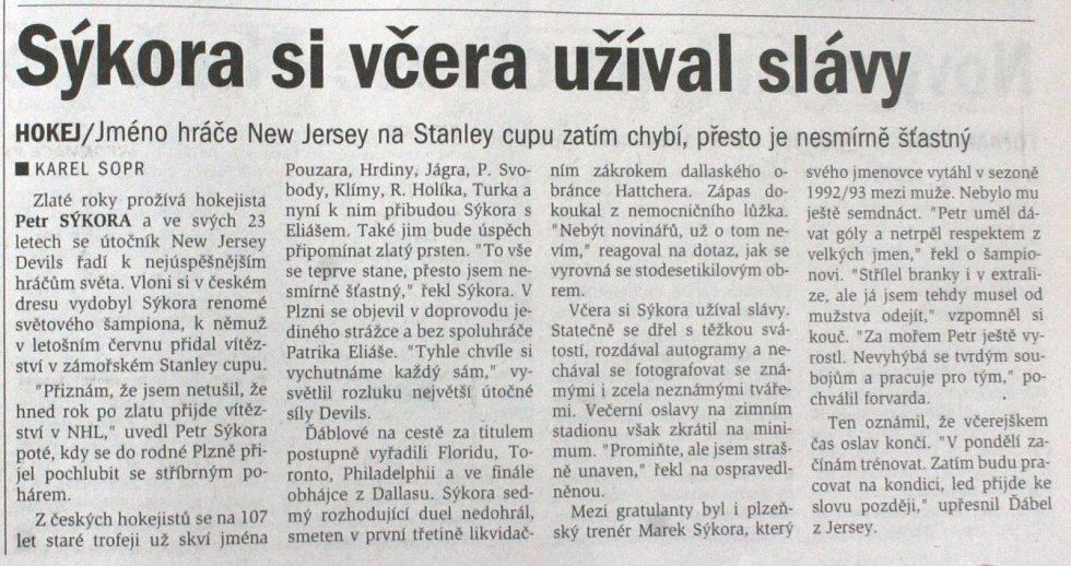 Plzeňský deník, 27. 7. 2000