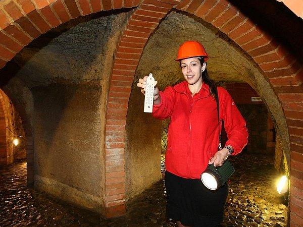 Historické podzemí. Vměstském podzemí teplota klesá až na 12stupňů