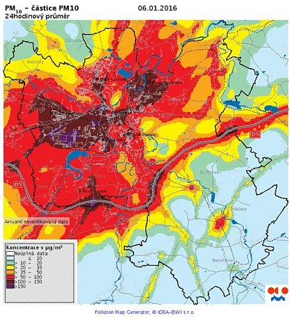 Koncentrace PM10 v ovzduší - 6. ledna