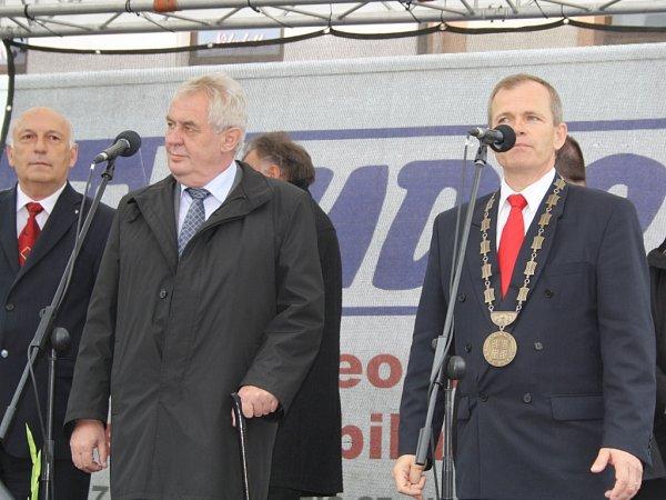 Prezident Miloš Zeman vRokycanech