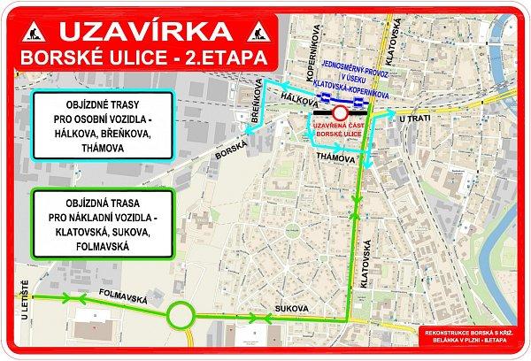 Uzavírka Borské ulice a objízdné trasy