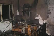 Obytná ložnice. Místo, kde hořelo
