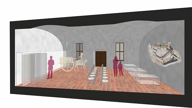 Vizualizace nové prohlídkové trasy na hradě Velhartice.