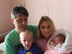 Terezka (3,01kg, 50 cm) se narodila 2. 9. v11:23 vplzeňské FN. Zjejího příchodu na svět se radují rodiče Ilona a Jaroslav Krýda a samozřejmě také bráška Tomáš (2,5) zPlzně