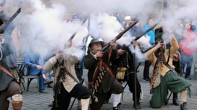Mušketýři generála Mansfelda při dobití Plzně.