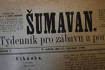 Týdeník Šumavan z roku 1868.