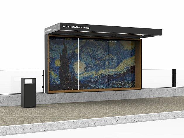 Radek Muzika, absolvent plzeňské Fakulty designu a umění Ladislava Sutnara, navrhl zastávku připomínající rám obrazu.