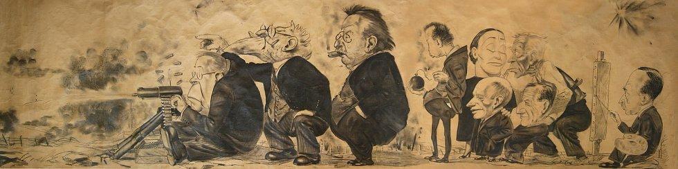 Na podzim před maturitou na II. státní reálce v Plzni (dnešní gymnázium na Mikulášském náměstí) vytvořil Bohumil Konečný karikaturu profesorského sboru tzv. Kulometnou rotu. Ačkoli za kresbu dostal kázeňský postih, nadchla malíře Zdeňka Buriana.