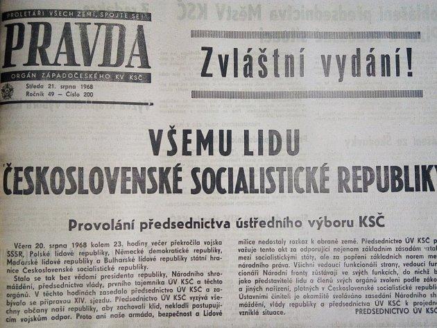 Zvláštní vydání Pravdy informovalo 21.srpna 1968ookupaci vojsk Varšavské smlouvy.