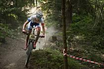 Ve Stupně se letos utkali také bikeři z kategorie Elite a vládli  domácí jezdci.  Zvítězili  Jan Rajchart (na snímku) před Ondřejem Paurem