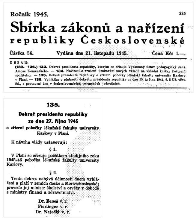 Dekret prezidenta republiky Edvarda Beneše ze dne 27. října 1945.