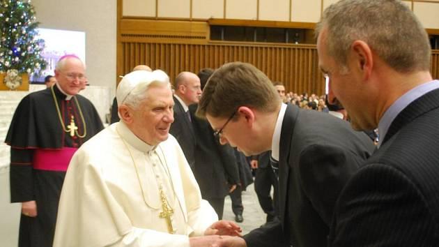Ministr spravedlnosti Jiří Pospíšil při středeční audienci u papeže Benedikta XVI