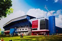 Vizualizace fotbalového stadionu v plzeňských Štruncových sadech po dostavbě věží a rekonstrukci tribuny