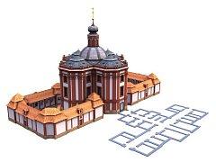 Na vizualizaci vidíte podobu areálu po dostavbě. K levé straně kostela přiléhá už existující západní ambit, k pravé straně budoucí východní. Šedý půdorys patří nezobrazenému proboštství, vněmž především sídlí Muzeum a galerie severního Plzeňska