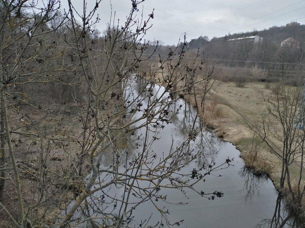 Radbuza z Tyršova mostu v Plzni.