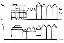 Pravda, 28. února 1968. Na nákresu nahoře je návrh novostavby hotelu Central, dole protinávrh rekonstrukce hotelu s úpravou výšky zástavby.