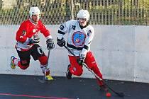 Nečekaně hladce vyhráli hokejbalisté Dobřan (na archivním snímku hráč v bílém) v Chlumci nad Cidlinou.
