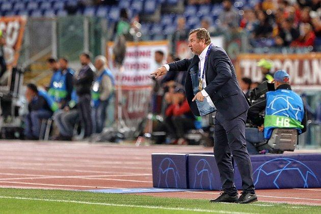 Trenér Plzně Pavel Vrba při zápase v Římě.