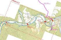 Na snímku jsou čtyři místa, kde by podle plánu Povodí Vltavy mohla vzniknout hráz přehrady – zleva doprava Čertova skála, Nezabudice, Branov a Roztoky