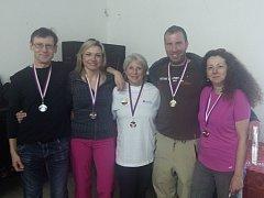 Medailisté z KSO Plzeň – zleva Milan Čečil, Štěpánka Stradějová, Eva Krupičková, František Bouda a Monika Anděla Šindelářová.