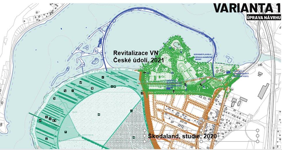 Koupání v Českém údolí má zajistit hráz u Škodalandu.