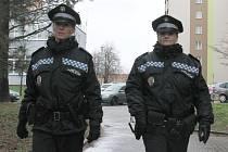 Strážnice Dagmar Heinová s kolegyní Magdalenou Topinkovou (zleva) tvoří pěší hlídku, která má zázemí na služebně městské policie na Borech (na snímku v pozadí vlevo). Heinová slouží u městské policie rok, Topinková už patnáct let