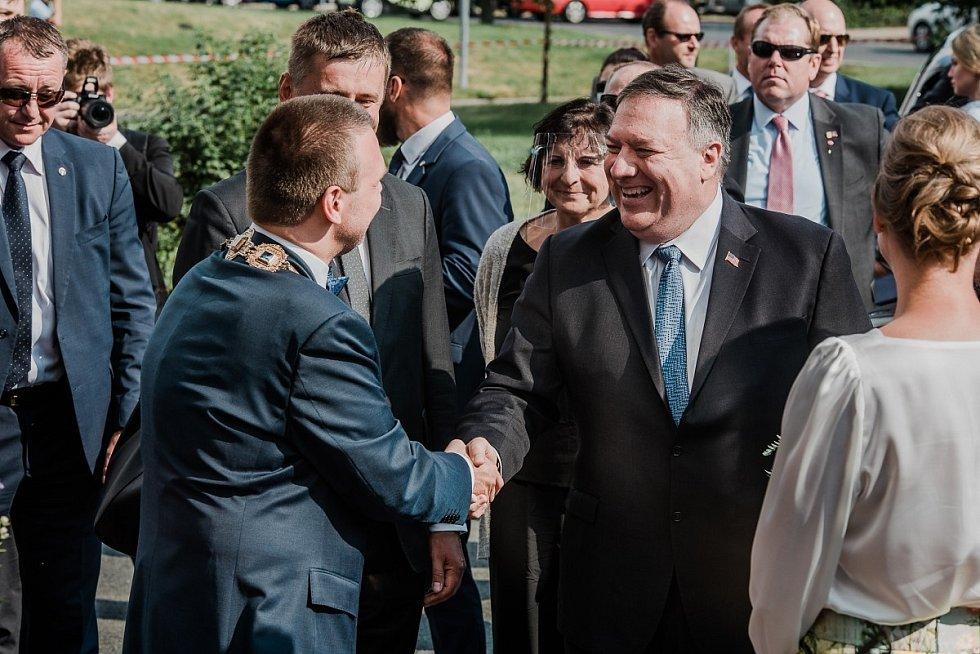 Ministr zahraničí USA Mike Pompeo v Plzni.