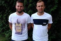Michal Kovács (vlevo) a Lukáš Rešetár se v pondělí v podvečer ukázali na prvním tréninku Interobalu Plzeň
