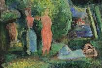 Z tvorby Martina Salcmana, kterou představuje výstavní síň Masné krámy Západočeské galerie: obraz z roku 1929 nazvaný Dívky