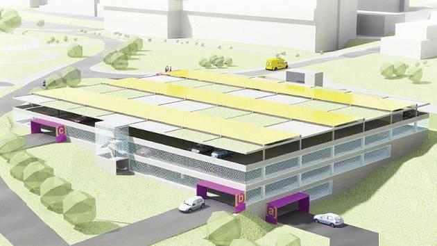 Parkovací dům pro zaměstnance bude čtyřpatrový. V každém patře bude 100 parkovacích míst