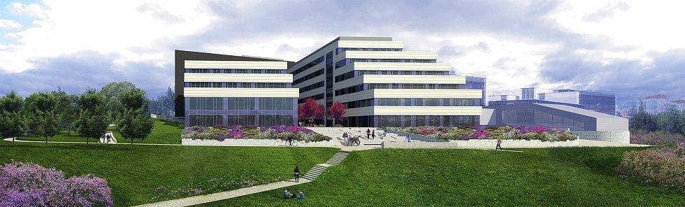 Vizualizace nových budov Lékářské fakulty v Plzni, jižní pohled.