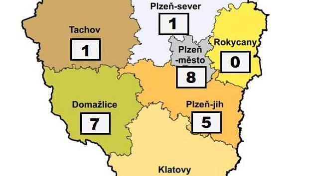 Mapa nákazy koronavirem v Plzeňském kraji - 24. března 2020