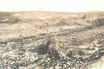 Pohled na zdevastovaný areál bolevecké muničky.