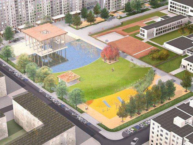 Vizualizace veřejného prostranství v Plzni na Vinicích